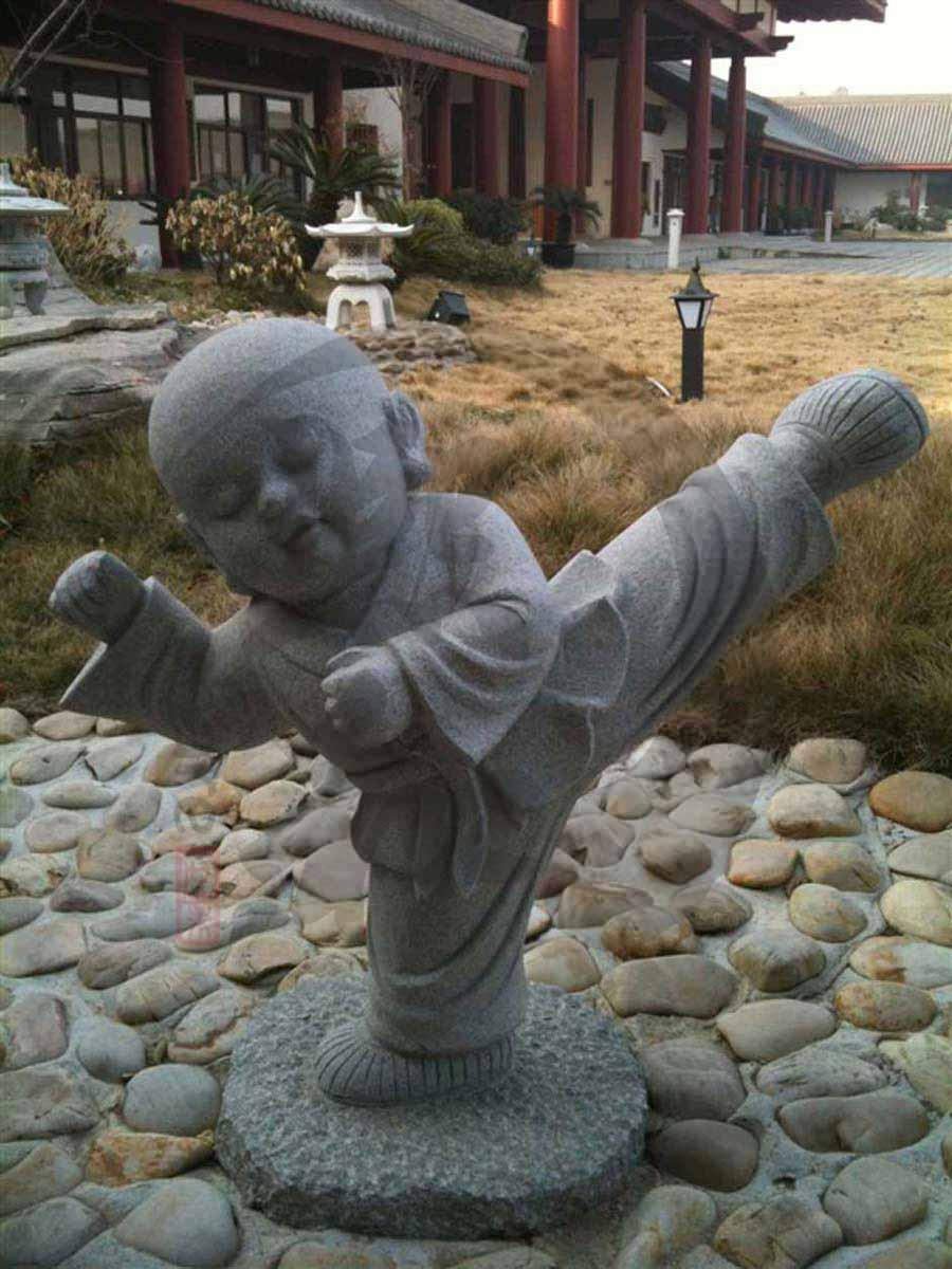 石雕功夫小和尚摆件 招财纳福 童趣十足 小沙弥石刻工艺品