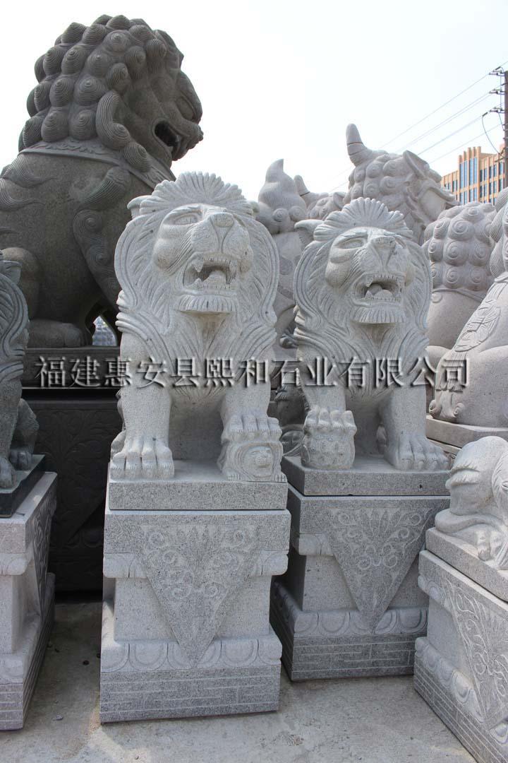 石雕石狮子工艺品,仿古 石雕小狮子,屋脊上的石雕狮子